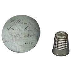 Antique Georgian Love Token Convict Token Death Token Momento Mori Dated 1818