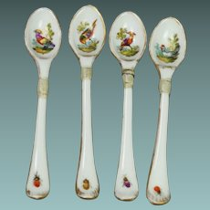 Early 19th Century Georgian Porcelain Spoon Set Meissen Style Bird and Insect Circa 1810 AF Make Do Repair