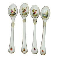 Antique Porcelain Spoon Set, Meissen Style Birds and Insects, Make Do Repair, Circa 1810 AF