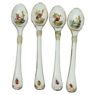 Georgian Porcelain Spoon Set Meissen Style Birds and Insects Circa 1810 AF Make Do Repair