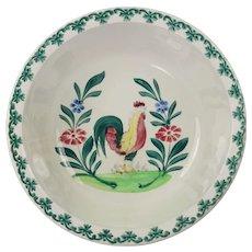 Antique Bird Spongeware Bowl Spring Pastels Large Spatterware Dish Folk Art Circa 1910