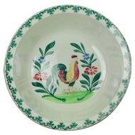 19th Century Spongeware Bowl Spatterware Dish Birds Folk Art