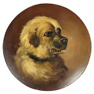 19th Century Jack Russell Dog Portrait Painting Papier Mache Dish Circa 1860 AF As Is