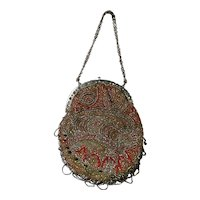19th Century Victorian Reticule Purse Bag Paisley Cut Steel Beadwork Beaded Circa 1850
