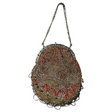 19th Century Victorian Reticule Purse Bag Paisley Cut Steel Beadwork Beaded Circa 1850