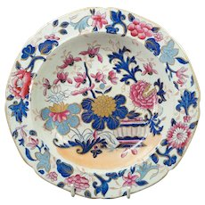 Antique Early Mason's Ironstone Floral Lobed Dish Rare Pink Flowers Colorway Japan Pattern Georgian Circa 1813