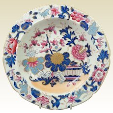 Early 19th century Mason's Ironstone Floral Lobed Dish Rare Pink Flowers Colorway Japan Pattern Georgian Circa 1813