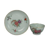Antique English 18th Century Porcelain Tea Bowl and Saucer New Hall Georgian Circa 1780
