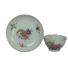 Antique English 18th Century Porcelain Tea Bowl and Saucer New Hall Georgian Circa 1780