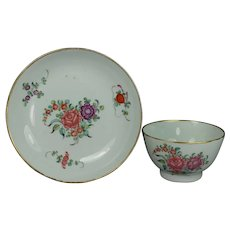 English 18th Century Porcelain Tea Bowl and Saucer New Hall Georgian Circa 1780
