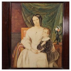 Watercolor Portrait of a Mother and Son European School Circa 1835 Exceptional Quality