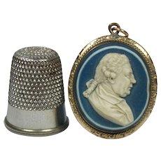"18th Century Circa 1780 Miniature Doll House Size 1"" Wedgwood and Bentley Blue Jasperware Portrait Medallion Cameo Pendant Maritime Naval Admiral Augustus Keppel"