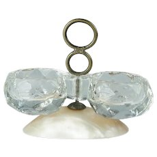 Antique 19th Century Miniature French Mother of Pearl Glass Double Open Salt Trinket Circa 1880