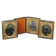 Antique Ambrotype Tintype Cased Photographs X 3 Mother Father and Son 1860s