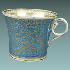 Antique Early 19th Century Chamberlain Worcester Porcelain Cup Stormont Pattern Baden Shape Regency Circa 1820