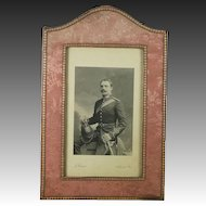 Antique Photo Frame English Country House Pink Silk Brocade Made By Walter Jones London