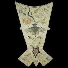 Early 18th Century Stomacher Silkwork Needlework Embroidery Corset Georgian Circa 1720 Rare AF