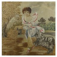 Antique 18th Century Silkwork Tapestry Picture Rare Dog and Child Scene Georgian 1790 English