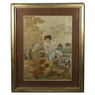 Georgian Silkwork Embroidery Picture Rare Dog and Child Scene Georgian 1790 English