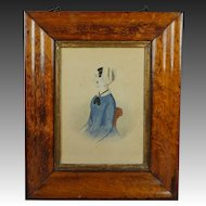 Antique Folk Art Watercolor Portrait Lady Blue Dress Victorian Circa 1845