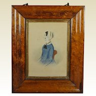 Antique Folk Art Watercolor Portrait Lady Blue Dress Victorian Circa 1845