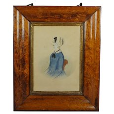 19th Century Folk Art Watercolor Portrait Lady Blue Dress Victorian Circa 1845