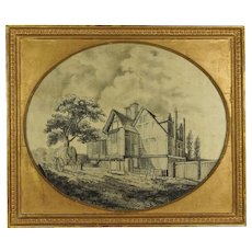 18th Century Rare Georgian Silkwork Printwork Blackwork Embroidery British Poet Abraham Cowley Tudor Porch House Surrey Circa 1790