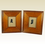 Antique Folk Art Silhouette Pair George Washington and Martha Washington