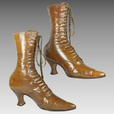Antique Victorian Boots High Top Leather Lace Up Rare Caramel Color Circa 1890