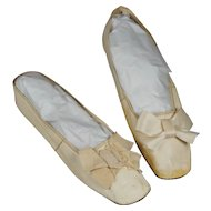 Antique Shoes Cream Leather Regency Slippers New York Retailers Label Circa 1825
