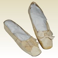 19th Century Regency Shoes Cream Leather New York Retailers Label Circa 1825