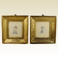 Antique Georgian Miniature Watercolor Pair Lemon Gilt Frame English Circa 1800
