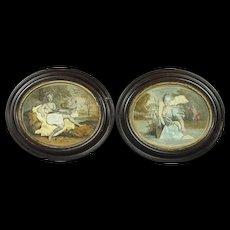 Antique 18th Century Miniature Pair Georgian Needlework Pictures Dressed Print Silkwork Collage Circa 1770