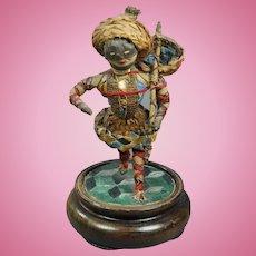 Antique Straw Doll Harlequin Georgian Commedia Dell'Arte Figure RARE Circa 1820