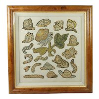 Antique 17th Century Needlework Stumpwork Slips Spot Motif Insects Flowers Frog Butterfly Circa 1660 English, Modern Frame