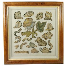 Antique 17th Century English Needlework Slips Spot Motif Stumpwork Insects Flowers Frog Butterfly Circa 1660