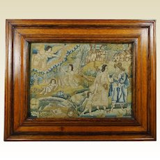 English Petit Point Needlework Panel 17th Century Circa 1660 The Life of Abraham