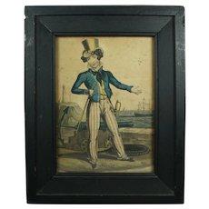 Antique 19th Century Engraving Naval Satire Britain's Pride Orlando Hodgson Circa 1820 Nautical Maritime Interest
