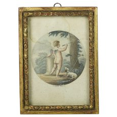18th Century French Miniature Engraving Cupid and Spaniel Dog Fidelity French Revolution Newspaper Backing Circa 1791
