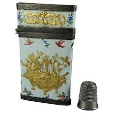 Antique French Carnet de Bal Enamel Etui Louis XVI Circa 1780 AF