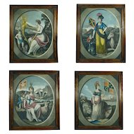 19th Century Rare Set of Four British Mezzotints Emblem of England, Scotland, Wales and Ireland. Acts of Union Hand Colored Engraving Circa 1805