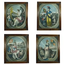 Antique 19th Century British Mezzotint, Complete Set, Emblem of England, Scotland, Wales and Ireland, Georgian Circa 1805
