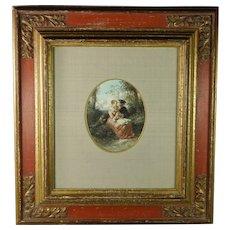 Antique 1850 Watercolor Herman Frederik Carel Ten Kate Quality Baroque Style Frame
