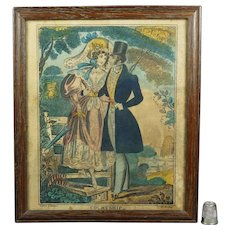 Antique Georgian Engraving Courtship John Fairburn Circa 1830 Folk Art
