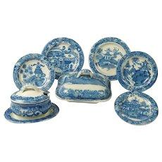 Antique English Doll's Part Dinner Set Spode Blue And White Transferware Chinoiserie Design Georgian Era Circa 1810