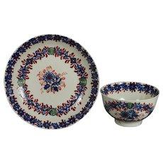 18th Century Seth Pennington Liverpool Porcelain Tea Bowl and Saucer Circa 1790