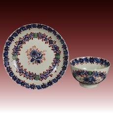 18th Century Tea Bowl and Saucer Liverpool England Penningtons Porcelain C 1790