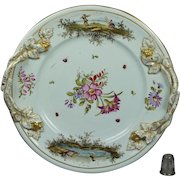 Antique Hochst Plate Floral Insects Deutsche Blumen German Circa 1750