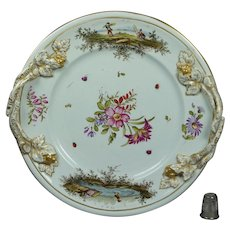 Antique Hochst Plate Spring Pastels Flowers Insects Deutsche Blumen German Circa 1750