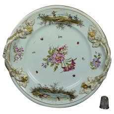 Georgian 18th Century Hochst Plate Flowers Insects Deutsche Blumen German Circa 1750